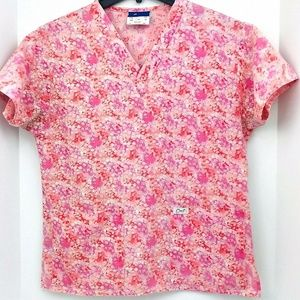 Crest Scrub Top Small Pink With Small White Flower